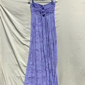 Periwinkle Watercolor Strapless Maxi Dress